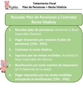 impuestos rescatar plan de pensiones con renta vitalicia